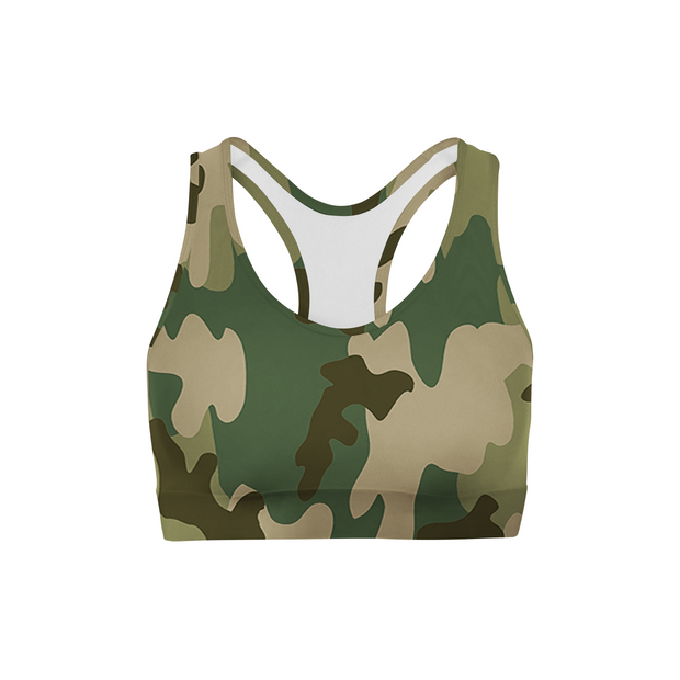 Green Camo Back Color Sports Bra