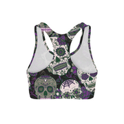 Purple Sugar Skulls Sports Bra