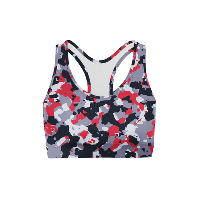 Red White Camo Sports Bra