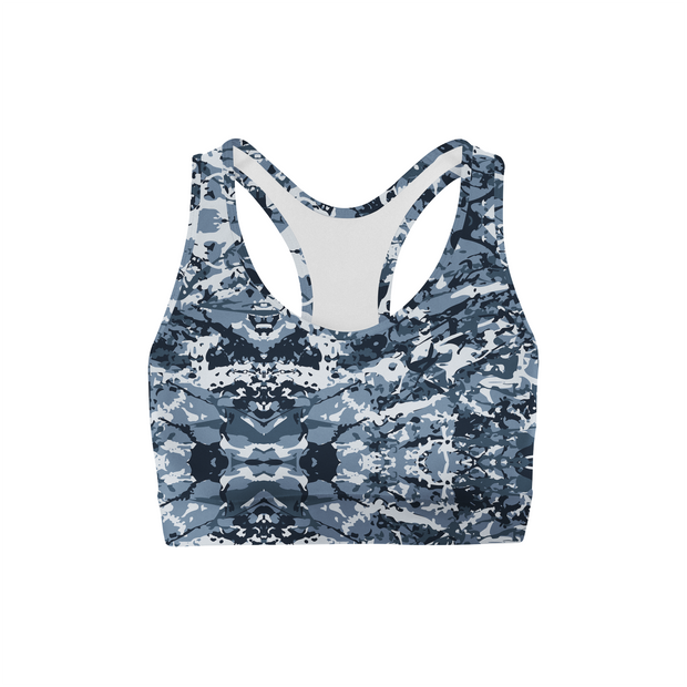 Navy Camo Back Color Sports Bra