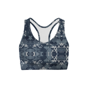 Digital Blue Camo Back Color Sports Bra