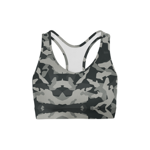 Digital Grey Camo Back Color Sports Bra
