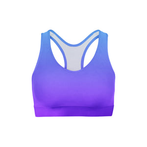 Blue Purple Ombre Sports Bra,XS / Multicolored / Soft Lycra