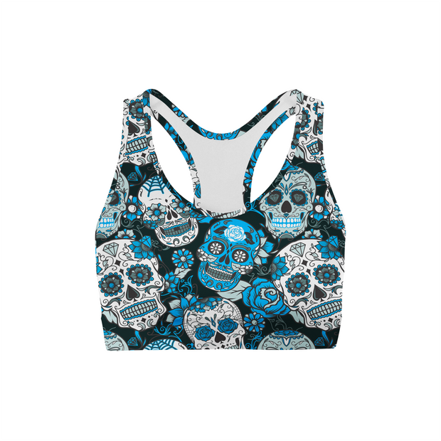 Blue Sugar Skulls Sports Bra