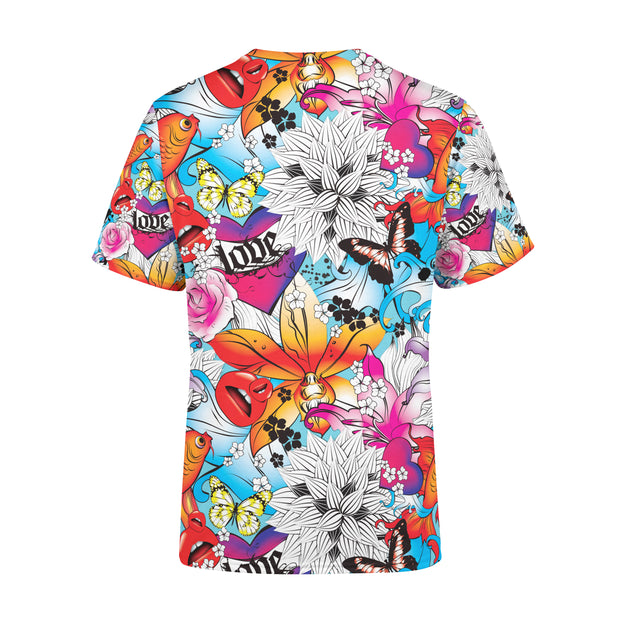 Men's Tattoo Fish and Flowers T-Shirt