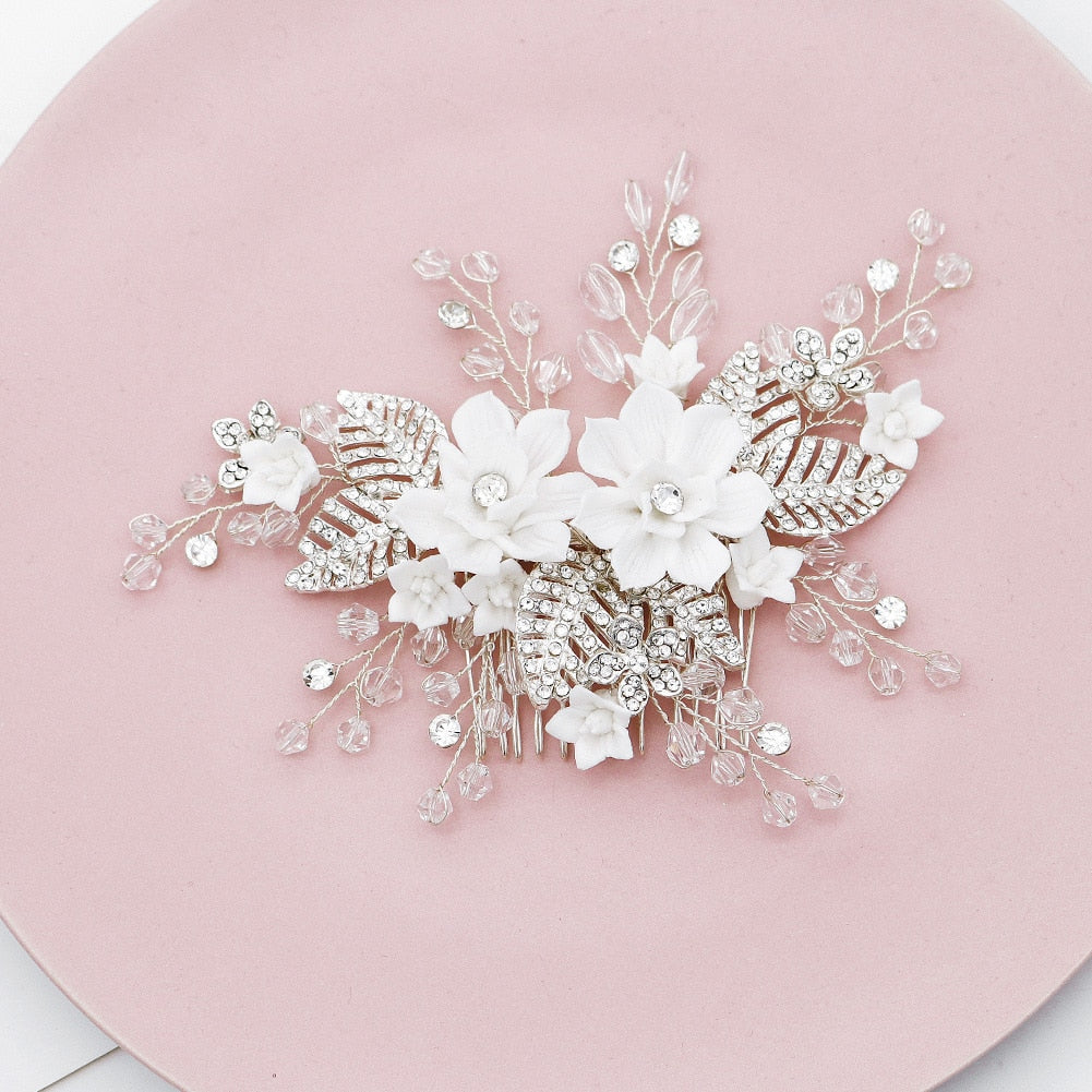White Resin Flower Bridal Wedding Hair Comb