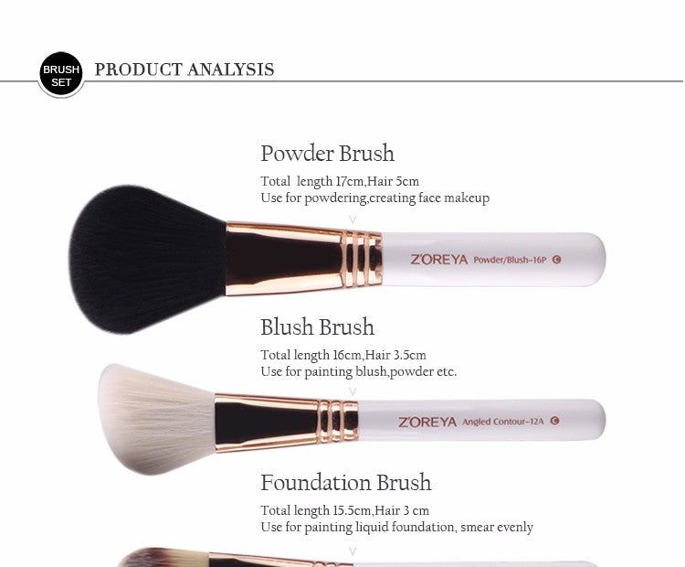 ZOREYA 10 pieces professional makeup brush set