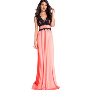 Women's Sexy Backless Lace Slim Long Dress High waist Party Evening