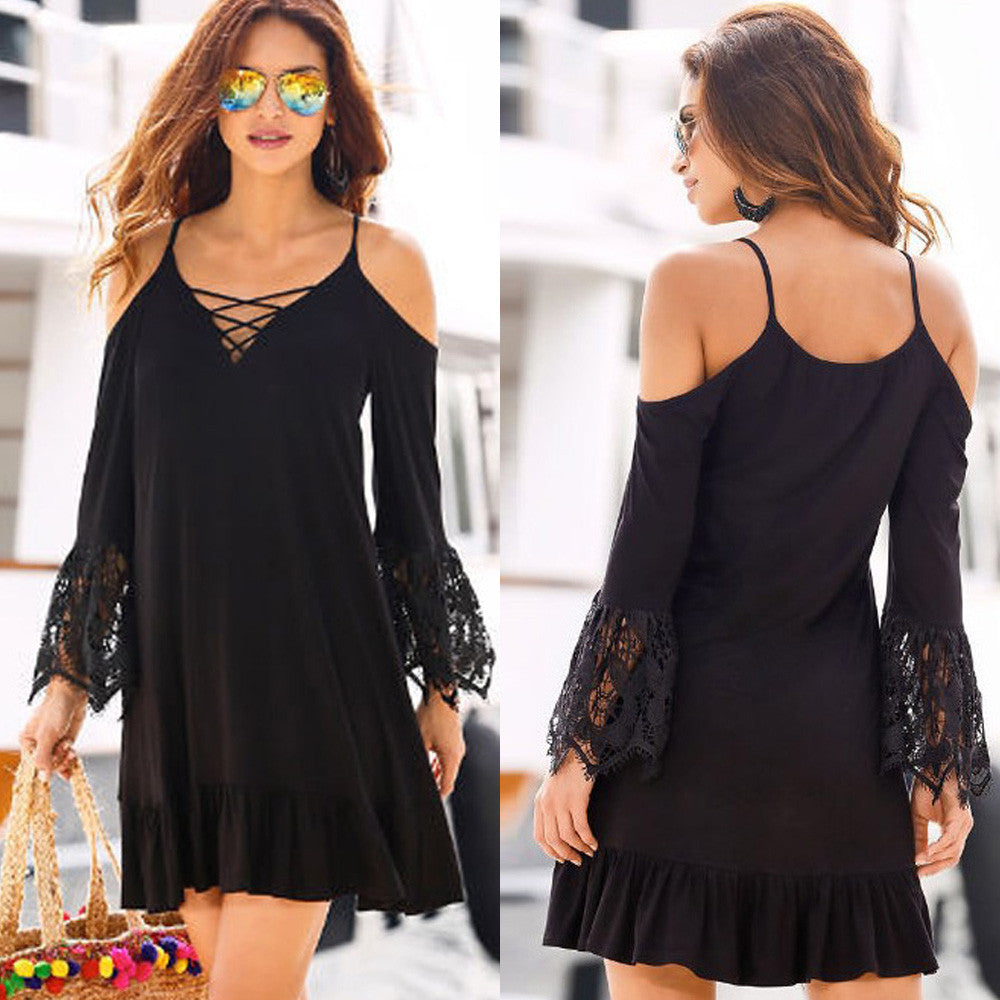 Off The Shoulder Lace Long Sleeve Dress