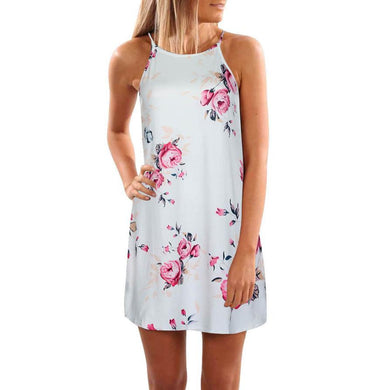 Flower Print Beach Spaghetti Strap Sleeveless