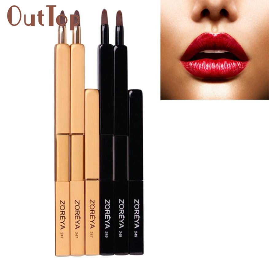 1PC Top Quality Portable Automatic Retractable Lip Brush With Lid Eyeliner Brush for zoreya Brand Popular U0307