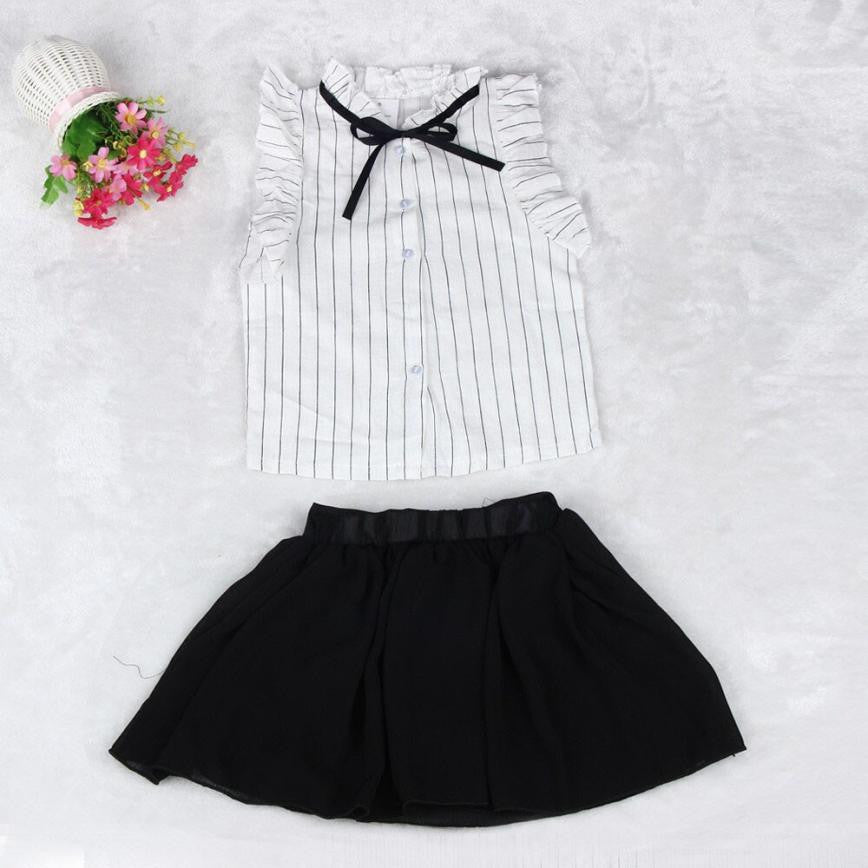 Girls Stripe Shirt Chiffon Shirt and Skirt