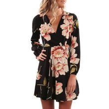 Women Floral Printing V Collar Dress