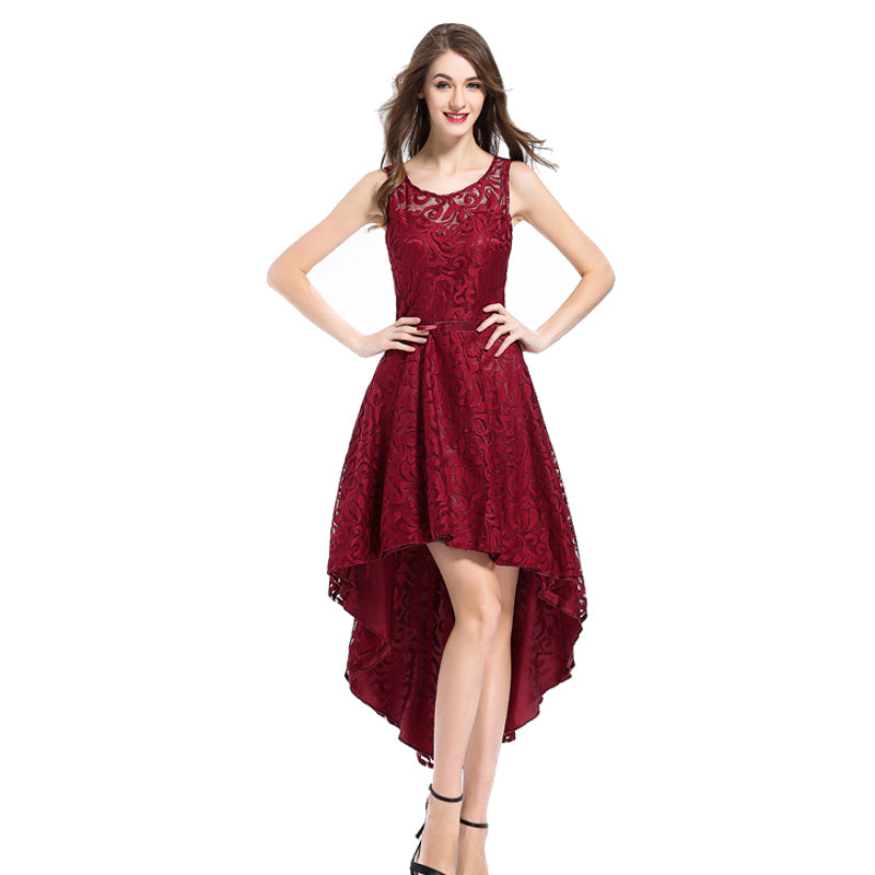 Red Floral Lace Sleeveless Asymmetrical Dress