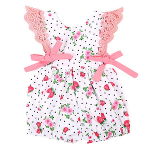Baby Girls Strawberry Lace Sleeve Romper