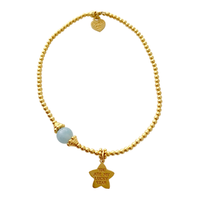 Bracelet Marlin Lucky Star Aquamarine Gold - Joy Jewellery Bali