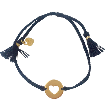 Bracelet Santa Lucia Heart Black Gold - Joy Jewellery Bali