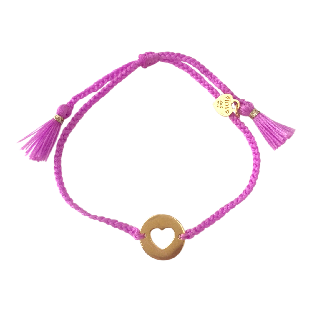 Bracelet Santa Lucia Heart Soft purple Gold - Joy Jewellery Bali