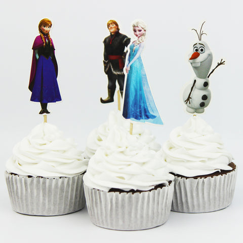 24 Frozen Cupcake Toppers