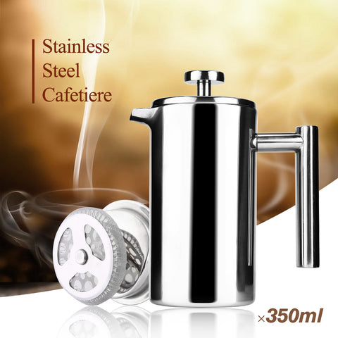3 Sizes Stainless Steel Double Wall French Press Coffee or Tea