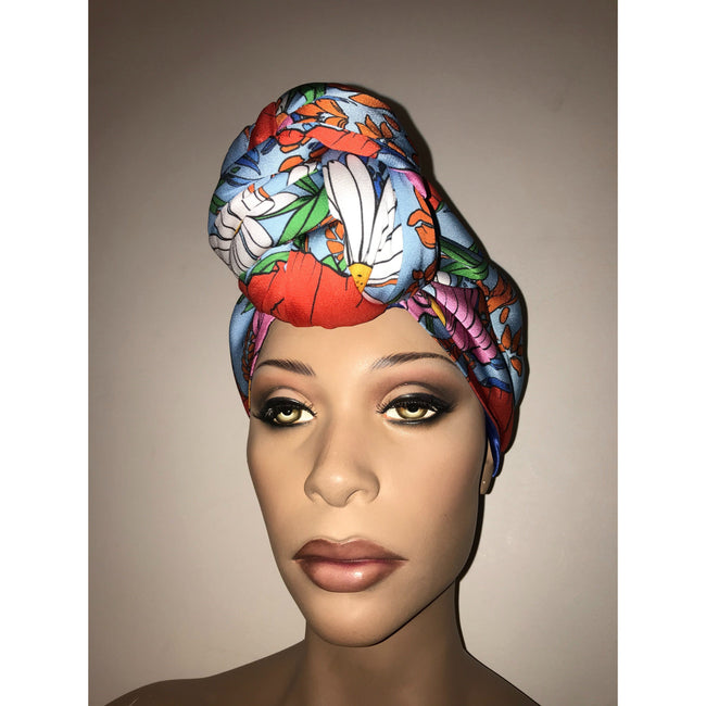 Blue Bouquet Satin Lined Pre sewn Knot Head Wrap / Turban Headwear London Devine