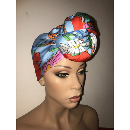 Blue Bouquet Satin Lined Pre sewn Knot Head Wrap / Turban