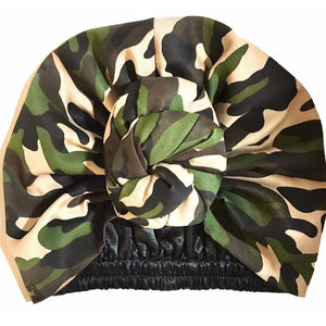 Camouflage Satin Lined Pre sewn Knot Head Wrap / Turban