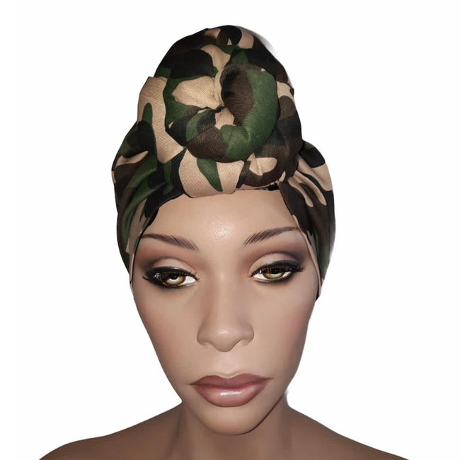 Camouflage Satin Lined Pre sewn Knot Head Wrap / Turban Headwear London Devine