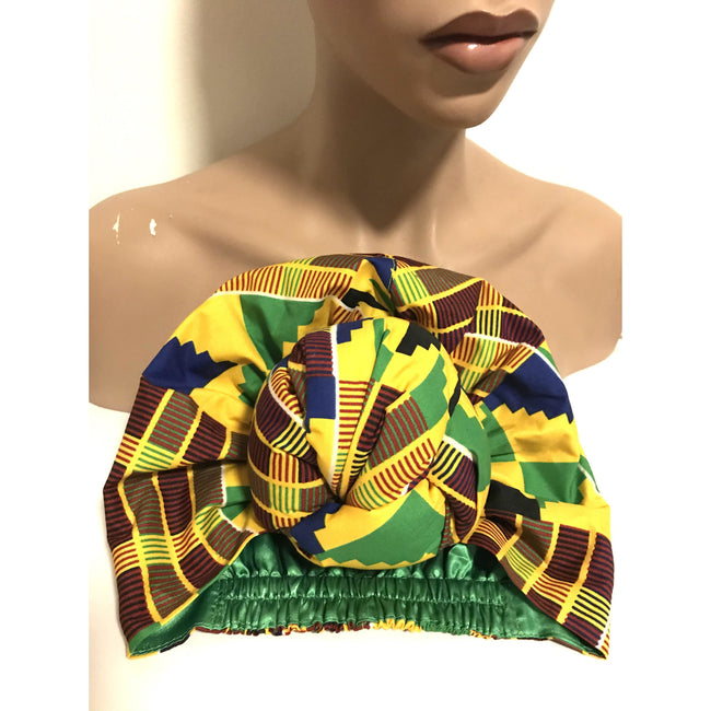 Royale Kente Yellow Satin Lined Pre Sewn Head wrap / Turban - Knot Style Headwear London Devine