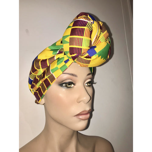 Royale Kente Yellow Satin Lined Pre Sewn Head wrap / Turban - Knot Style