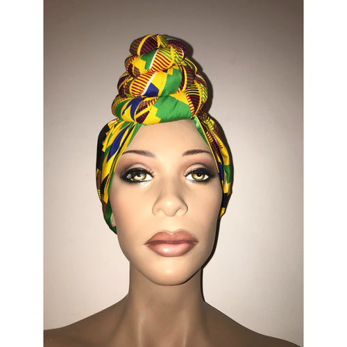 Royale Kente Yellow Satin Lined Pre Sewn Head wrap / Turban - Twist Style