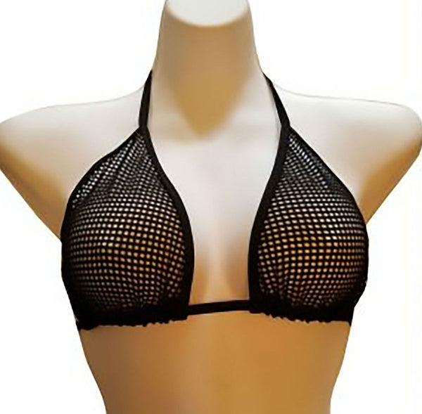 Sexy Sheer Black Fishnet Bathing Suit Top See Through Dancewear Mesh Stripper Bikini Top