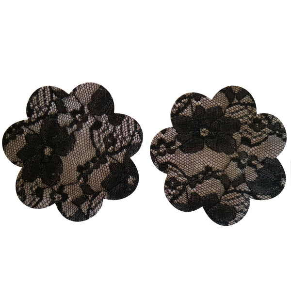 Black or Nude Lace Flower Pasties