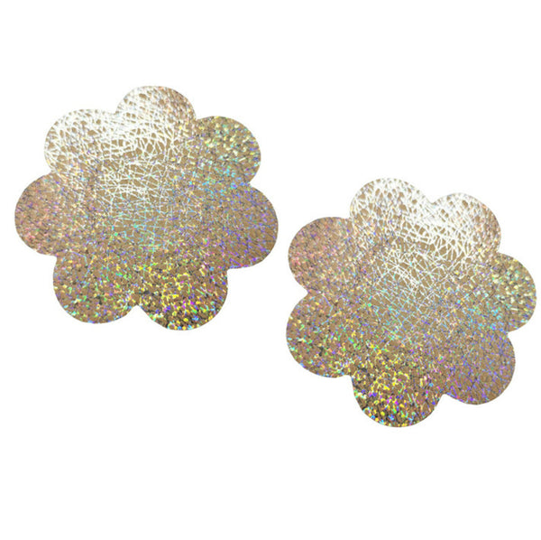 White Shimmer Flower Pasties Embellished