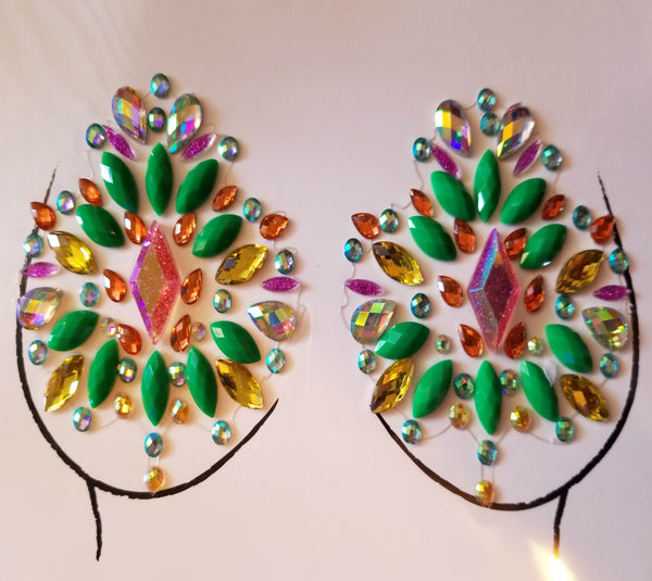 Green Crystal Embellished Pasties