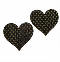 Embellished Heart Black Glitter Pasties