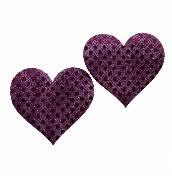 Embellished Heart Purple Glitter Pasties