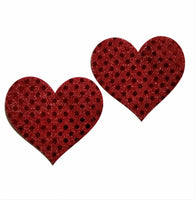 Embellished Heart Red Glitter Pasties