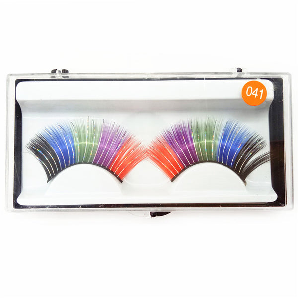 Sheer Swim Rainbow False Eyelashes Long Thick Drag Queen Falsies Eye Lashes Extensions for Costume Cosplay Stage Makeup
