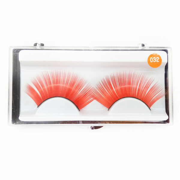 Sheer Swim Orange False Eyelashes Long Thick Drag Queen Falsies Eye Lashes Extensions for Costume Cosplay Stage Makeup