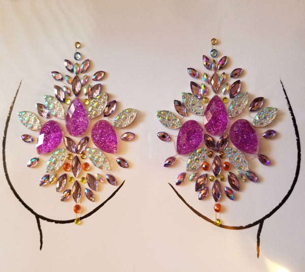 Purple Crystal Embellished Pasties