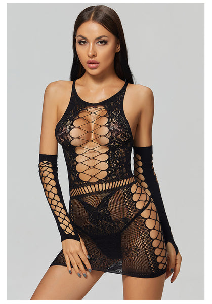 Fishnet Lingerie with sleeves (Panties not included)
