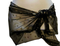 Black Ultra Sheer Embellished Gold Stars Sarong