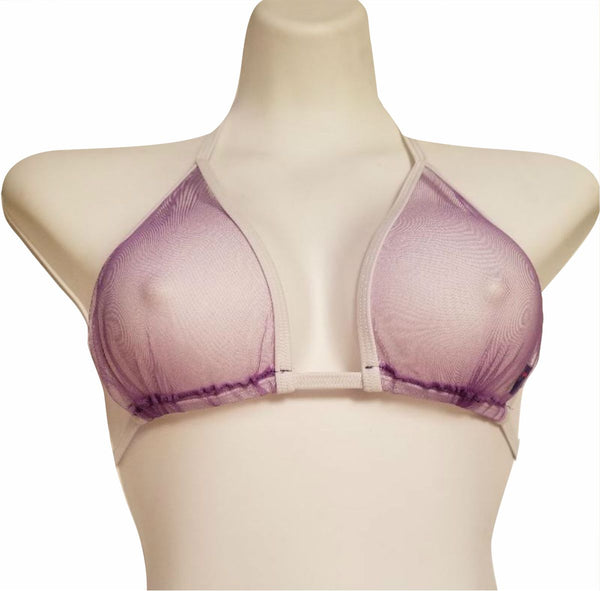 Sheer Swim Purple Ultra Sheer Bikini Top EDC Festival Wear Clothing Optional Sheer Swim