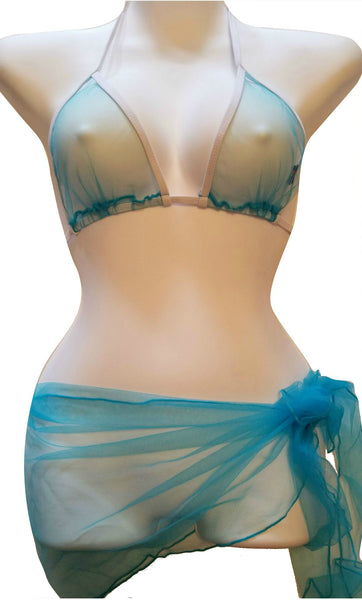 Sheerswim Turquoise Ultra Sheer Bikini Top & Turquoise Sheer Sarong
