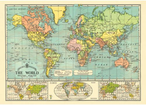 Vintage Style Poster World Map 6