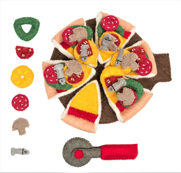 Pizza with Toppings and Cutter