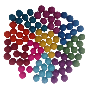 Pompom Balls Summer 1.5 cm Set of 100 Pieces