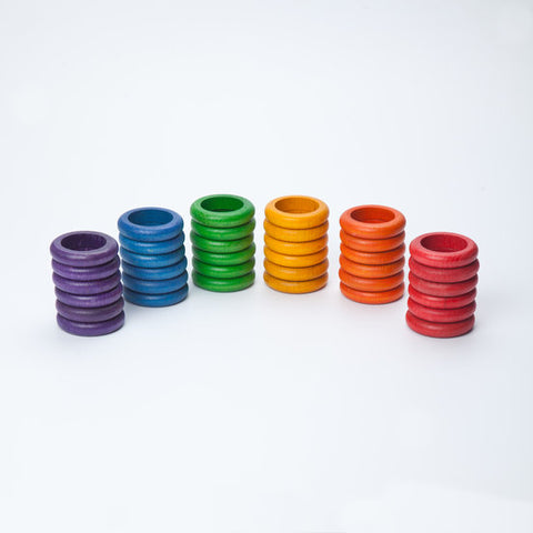 Rings Set of 36 in 6 Rainbow Colours