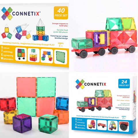 Bundle of Connetix Tiles 40 Pc Expansion Set + 24 Pc Car Pack